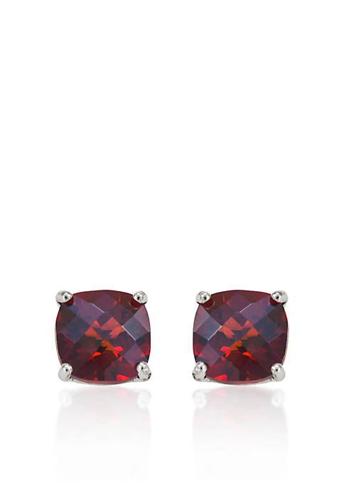 14k White Gold 8mm Garnet Stud Earrings