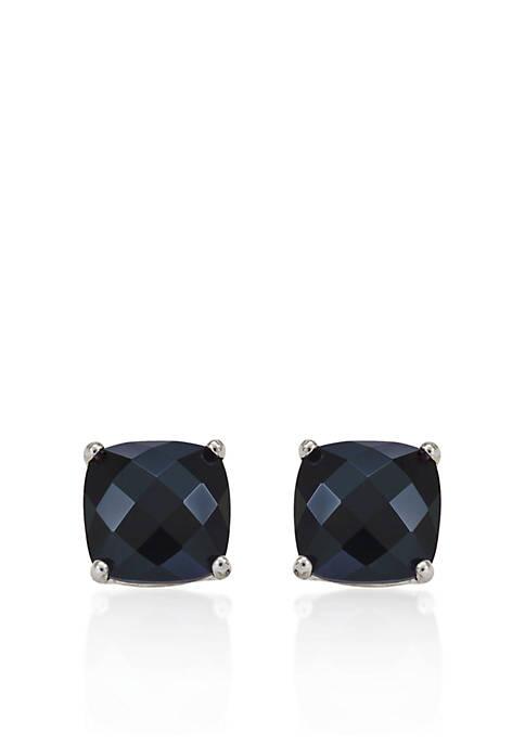 14k White Gold 8mm Onyx Stud Earrings