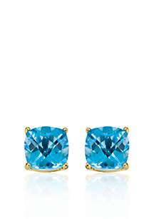 14k Yellow Gold 8mm Blue Topaz Stud Earrings