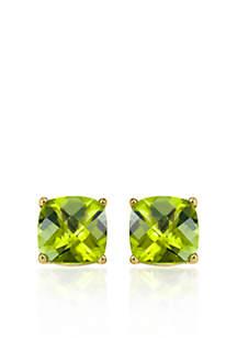 14k Yellow Gold 8mm Peridot Stud Earrings