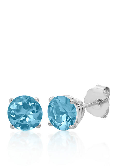 10k White Gold Blue Topaz Stud Earrings