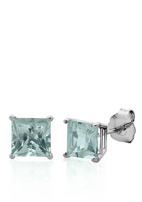 10k White Gold Aquamarine Stud Earrings