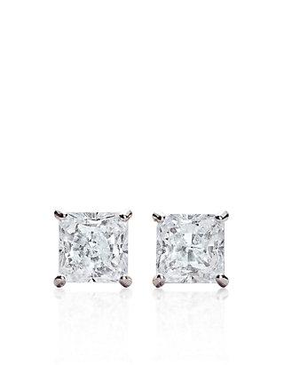 f256c1cbb Belk & Co. Belk & Co. 14k White Gold 1 ct. t.w. Princess Cut Cubic Zirconia  Earrings