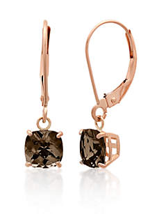 10k Rose Gold Smokey Quartz Earrings