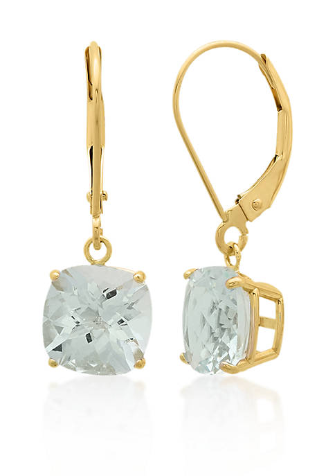 Belk & Co. 10k Yellow Gold Aquamarine Earrings