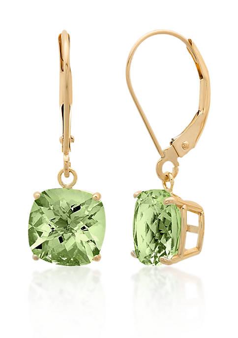 10k Yellow Gold Green Amethyst Earrings