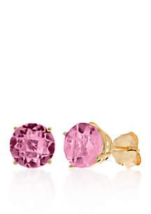 10k Yellow Gold Pink Amethyst Stud Earrings