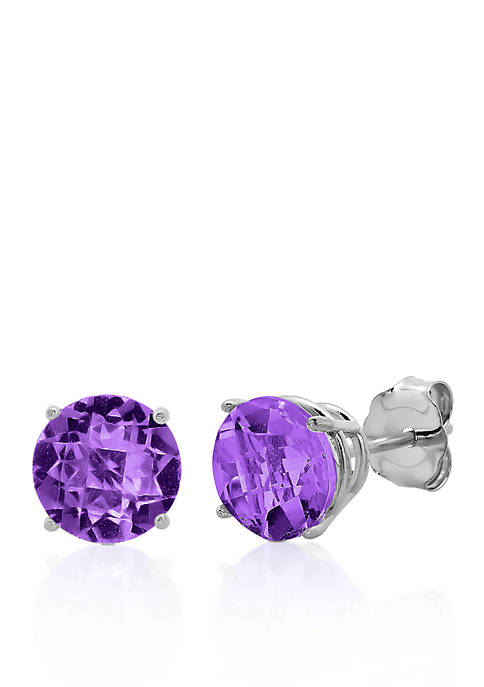 Belk & Co. 10k White Gold Amethyst Stud