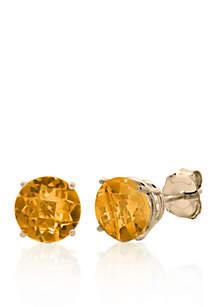 10k Yellow Gold Citrine Stud Earrings
