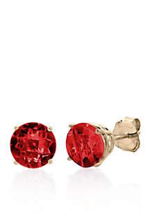 10k Rose Gold Garnet Stud Earrings