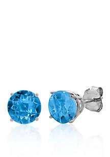 10k White Gold London Blue Topaz Stud Earrings