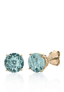 10k Yellow Gold Aquamarine Stud Earrings