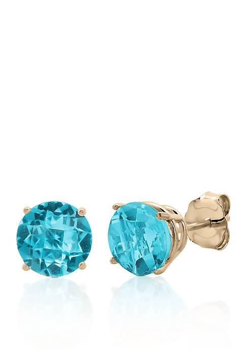 10k Yellow Gold Blue Topaz Stud Earrings