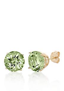 10k Yellow Gold Green Amethyst Stud Earrings