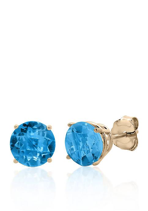 10k Yellow Gold London Blue Topaz Stud Earrings