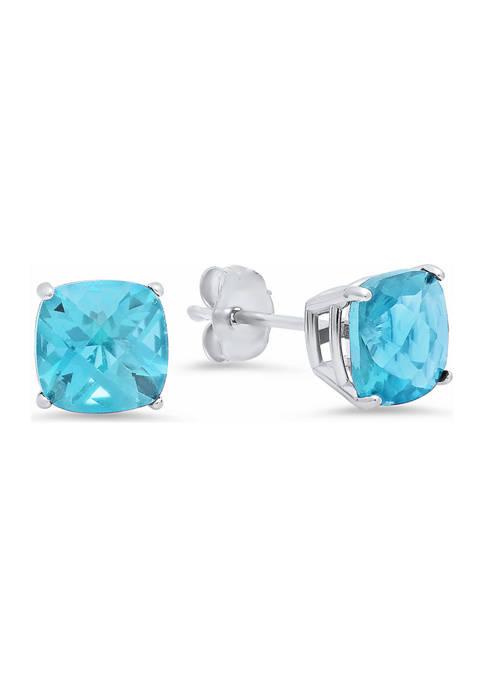 Sterling Silver Cushion-Cut Checkerboard Genuine Swiss Blue Topaz Stud Earrings (6 Millimeter)