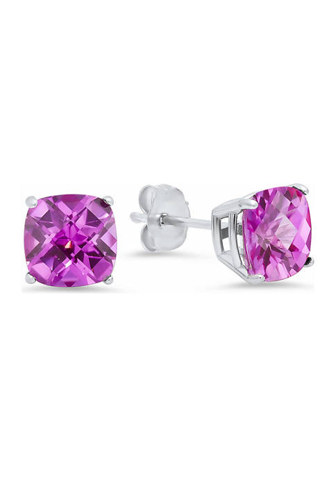 Sterling Silver Cushion-Cut Checkerboard Created Pink Sapphire Stud Earrings (8 Millimeter)