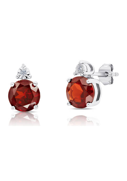 7 Millimeter Round Garnet and Diamond Accent Stud Earrings in Sterling Silver