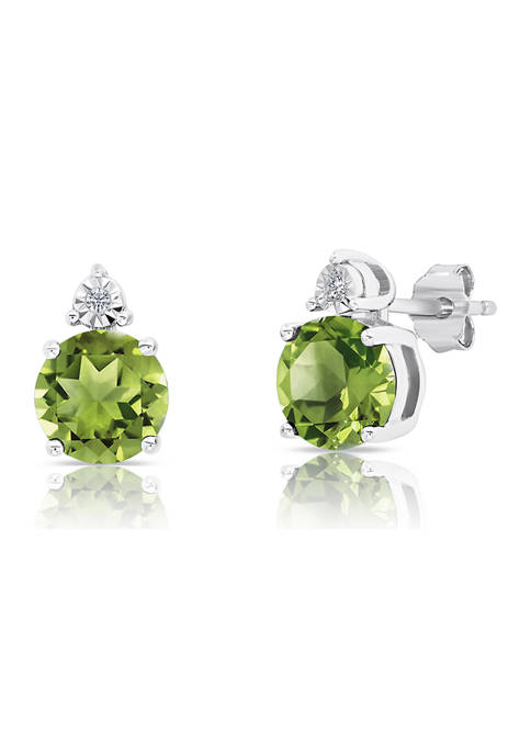 7 Millimeter Round Peridot and Diamond Accent Stud Earrings in Sterling Silver