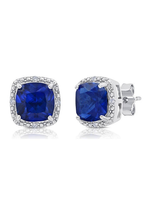 7 Millimeter Cushion Cut Created Blue Sapphire and Diamond Accent Halo Stud Earrings in Sterling Silver