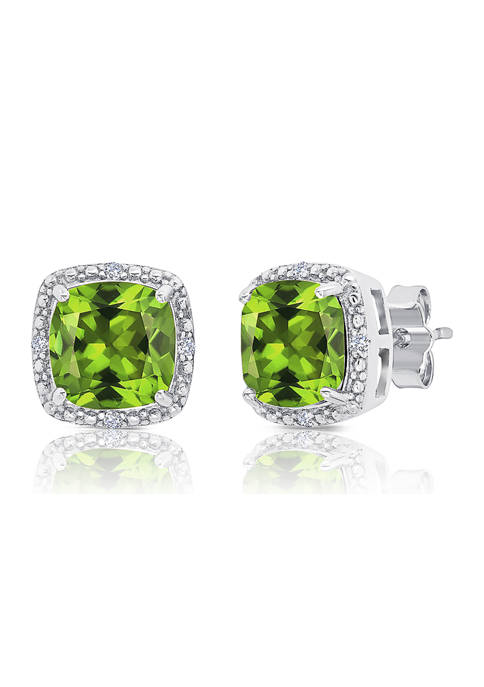 7 Millimeter Cushion Cut Peridot and Diamond Accent Halo Stud Earrings in Sterling Silver