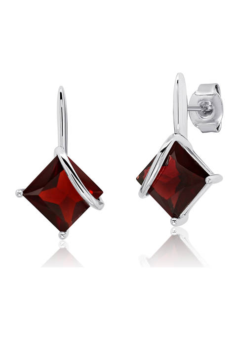 7 Millimeter Princess Cut Garnet Drop Earrings in Sterling Silver