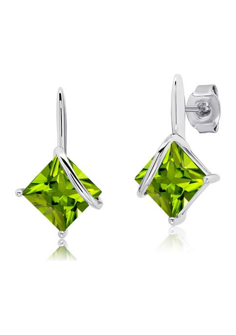 7 Millimeter Princess Cut Peridot Drop Earrings in Sterling Silver