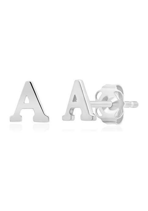 Letter A Stud Earrings in 14K White Gold