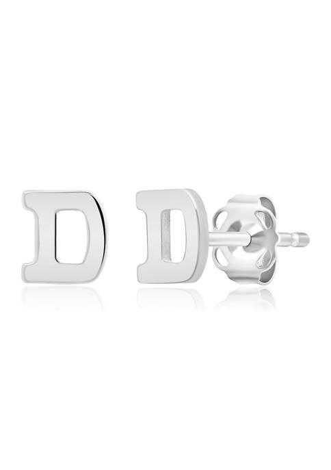 14K White Gold Letter (D) Stud Earrings