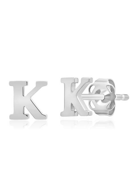 14K White Gold Letter (K) Stud Earrings