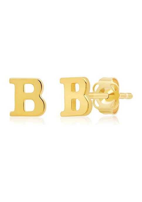 14K Yellow Gold Letter (B) Stud Earrings