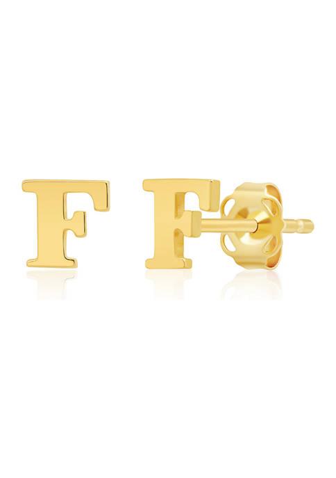 14K Yellow Gold Letter (F) Stud Earrings