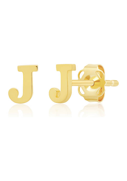 14K Yellow Gold Letter (J) Stud Earrings