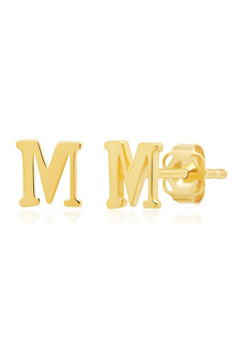 14K Yellow Gold Letter (M) Stud Earrings