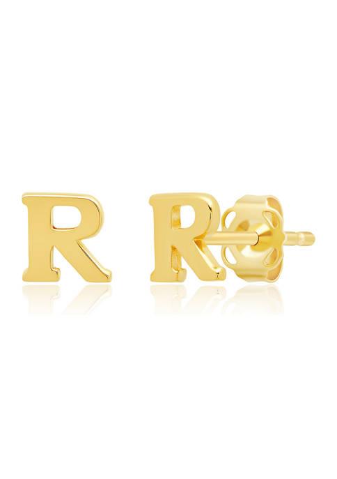 Letter R Stud Earrings in 14K Yellow Gold