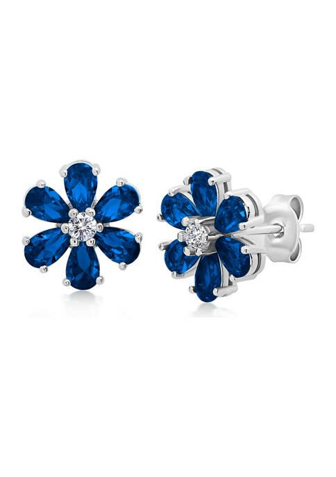 Belk & Co. Created Blue Sapphire Flower Stud