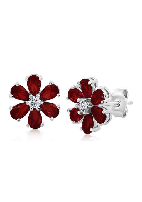 Garnet Flower Stud Earrings in 925 Sterling Silver (0.5 Inch)