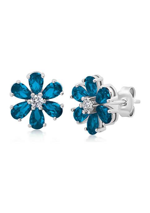 Belk & Co. Londen Blue Topaz Flower Stud