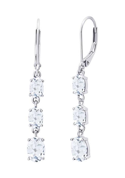 Created White Sapphire Oval Shape Dangle Earrings in 925 Sterling Silver