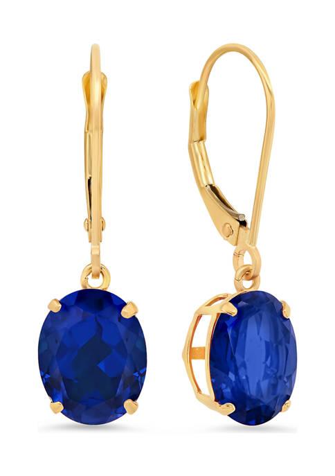 14K White Gold Oval Created Blue Sapphire Dangle Earrings