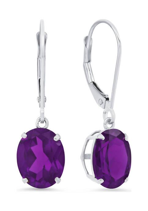 Sterling Silver Oval Genuine Amethyst Dangle Earrings