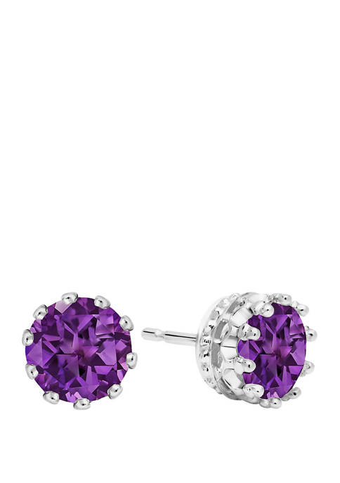 2.5 ct. t.w. Round Crown Amethyst Earring Studs in 14K White Gold