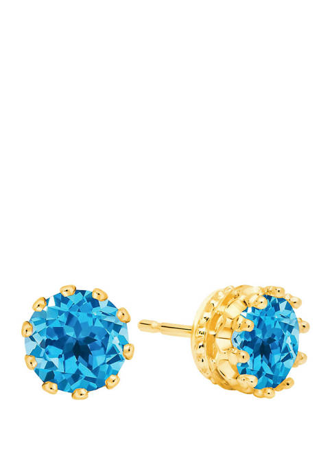 3 ct. t.w. Round Crown Swiss Blue Topaz Earring Studs In 14K Yellow Gold