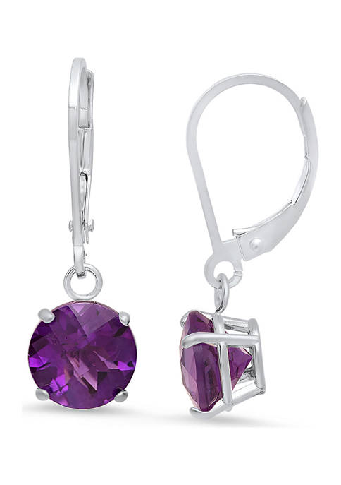 Sterling Silver Round Checkerboard Cut 3 ct. t.w. Amethyst Lever Back Earrings (8 Millimeter)