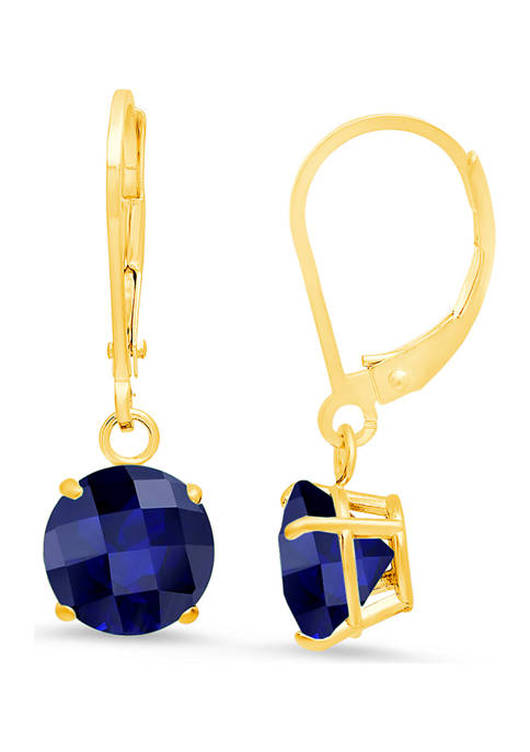 10K Yellow Gold Round Checkerboard Cut Created Blue Sapphire Leverback Earrings