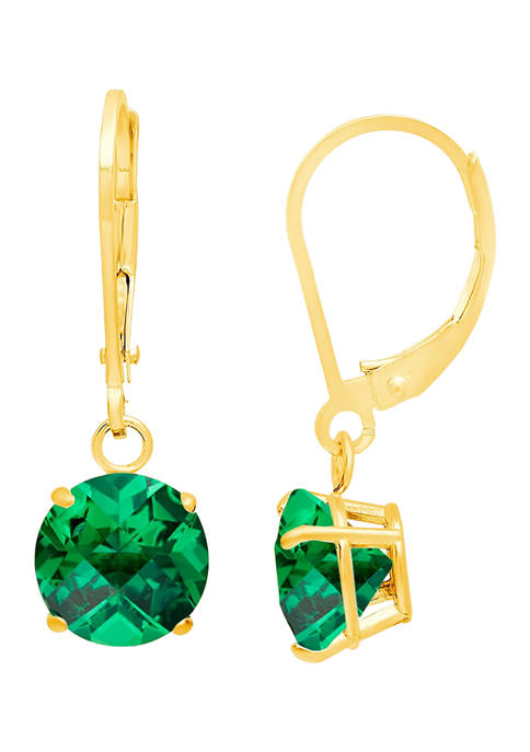 10K Yellow Gold Round Checkerboard-Cut 2.9 ct. t.w. Lab Created Emerald Lever Back Earrings (8 Millimeter)