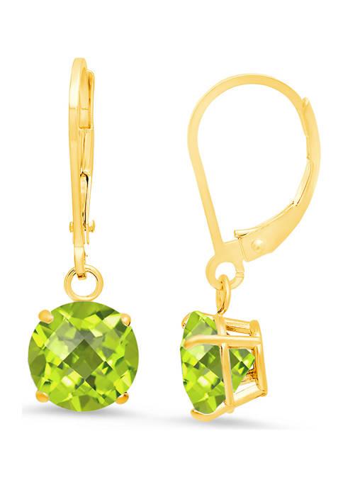 10K Yellow Gold Round Checkerboard Cut Peridot Leverback Earrings