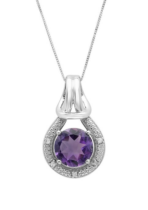 10K White Gold Amethyst with Diamond Accent Love Knot Pendant