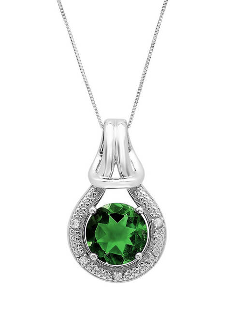 10K White Gold Created Emerald with Diamond Accent Love Knot Pendant