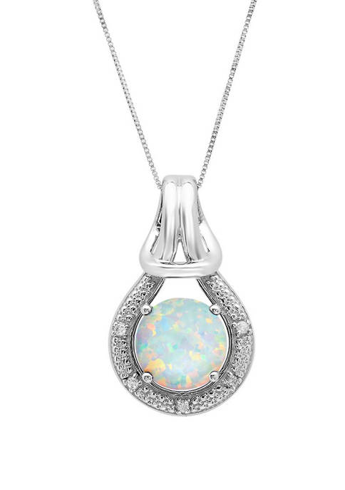 10K White Gold Created Opal with Diamond Accent Love Knot Pendant